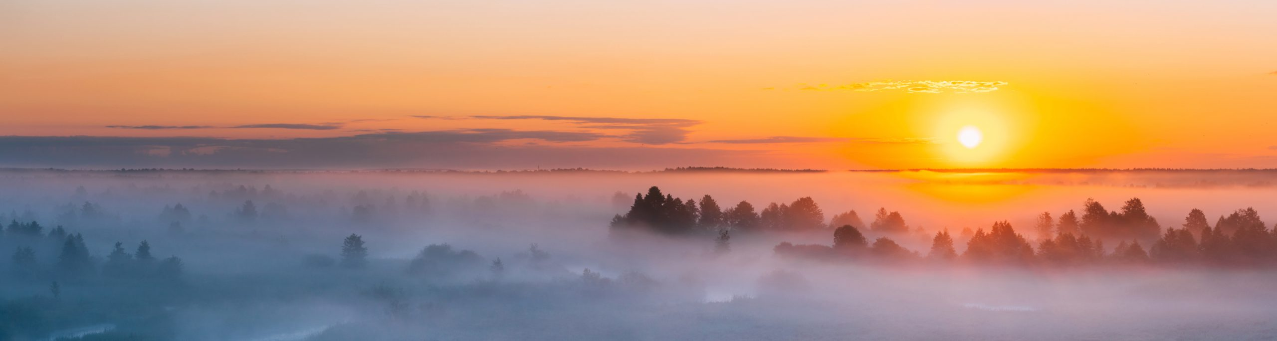 sunset over fog